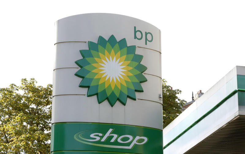 FILE - This Aug. 1, 2017, file photo shows the oil producer BP company logo at a petrol station in London.  BP, a major player on Alaska's North Slope for decades, is selling all of its Alaska assets, the company announced Tuesday, Aug. 27, 2019. Hilcorp Alaska is purchasing BP interests in both the Prudhoe Bay oil field and the trans-Alaska pipeline for $5.6 billion, BP announced in a release.(AP Photo/Caroline Spiezio, File)
