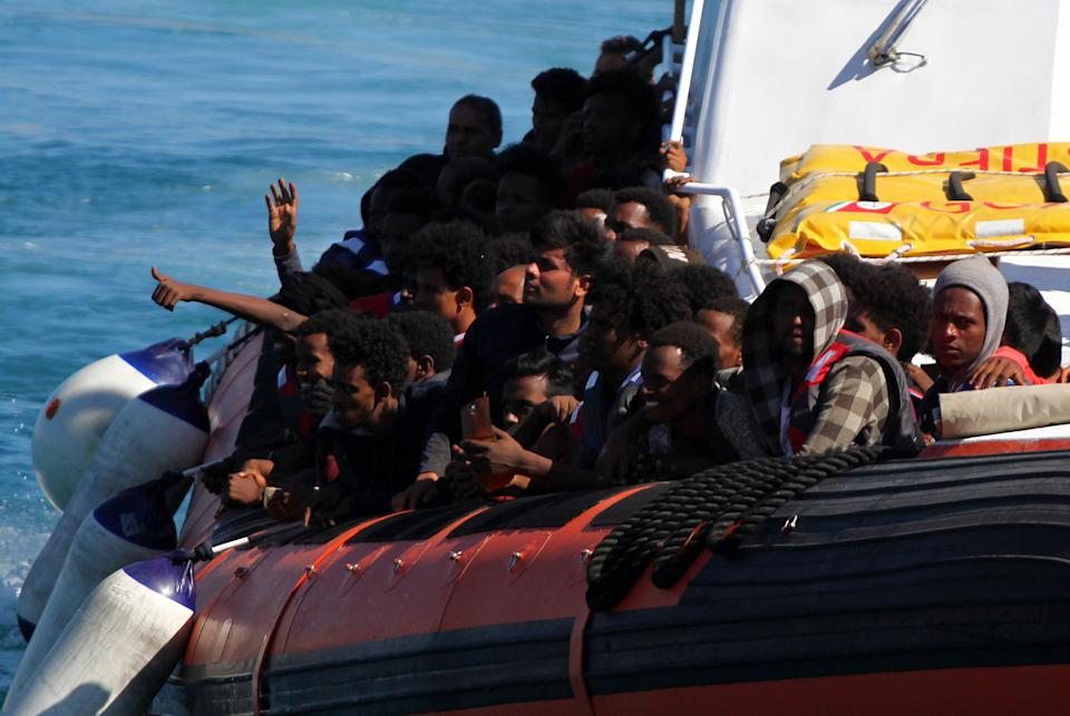Migrants packed on a boat arriving on the southern Italian island of Lampedusa.