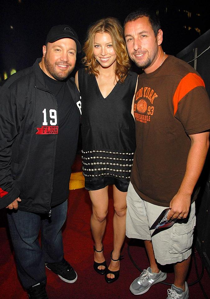 """Jessica Biel hangs with her boys, Kevin James and Adam Sandler. Kevin Mazur/<a href=""""http://www.wireimage.com"""" target=""""new"""">WireImage.com</a> - June 3, 2007"""