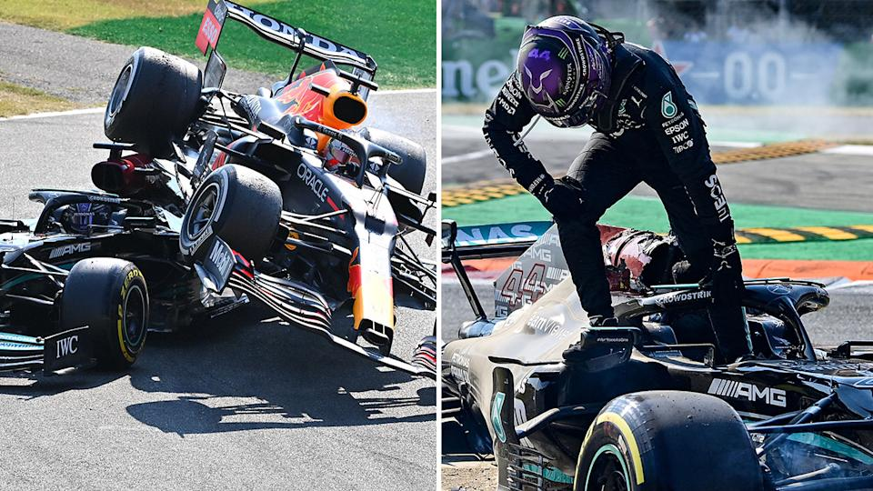 Seen here, Lewis Hamilton steps out of his car after the frightening crash.