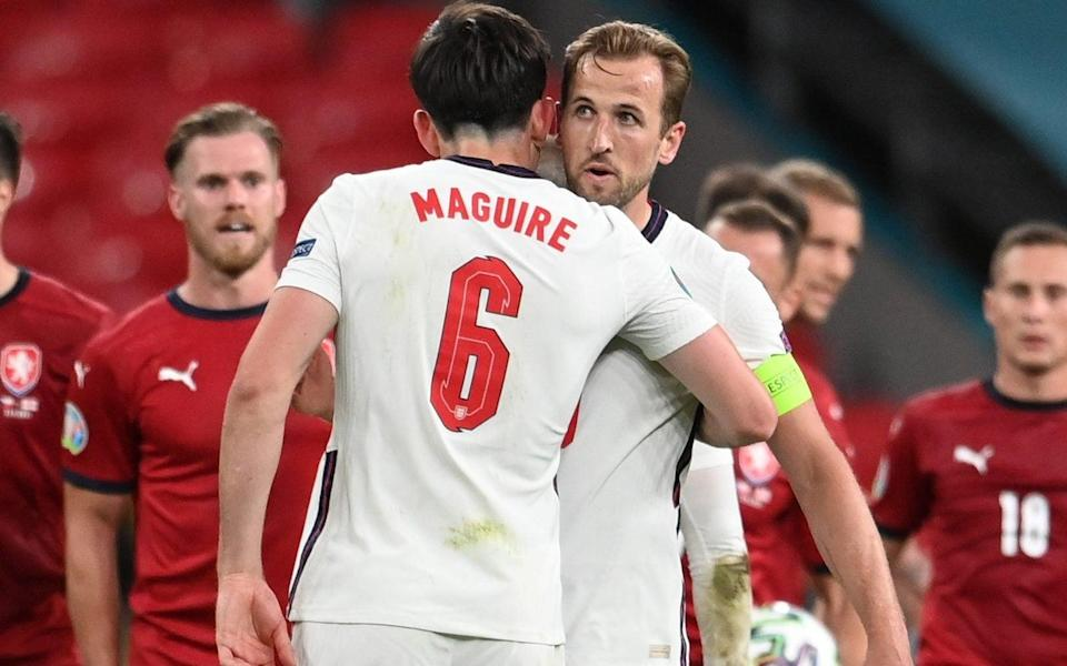 Harry Maguire and Harry Kane - Harry Maguire the pass master allows England freedom to roam - REUTERS