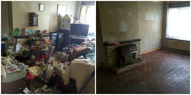 Before and after. The cluttered lounge (SWNS)
