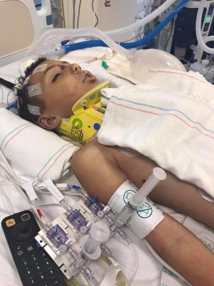 Anthony Avalos at the hospital after suffering severe injuries