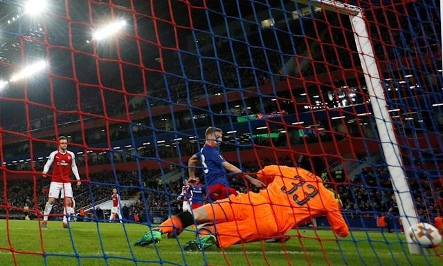 Soccer Football - Europa League Quarter Final Second Leg - CSKA Moscow v Arsenal - VEB Arena, Moscow, Russia - April 12, 2018 CSKA Moscow's Fedor Chalov scores their first goal REUTERS/Grigory Dukor