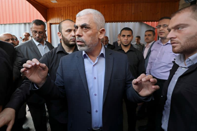 FILE PHOTO: Gaza's Hamas Chief Al-Sinwar talks to media before meeting with Chairman of the Palestinian Central Election Committee Naser in Gaza City