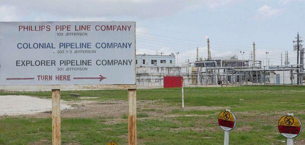 PHOTO: The Colonial Pipeline Houston Station facility stands in Pasadena, Texas taken on May 10, 2021. (Francois Picard/AFP via Getty Images)