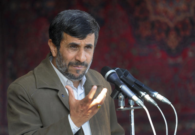 FILE - In this Nov. 3, 2010 file photo, Iranian President Mahmoud Ahmadinejad delivers a speech in a public gathering at the city of Bojnord, northeastern Iran. In one of President Ahmadinejad's first major policy speeches back in 2005, he laid out some bedrock principles: Iran will never halt uranium enrichment and the West needs to deal with the Islamic Republic on equal footing. Jump ahead to today, and Iran's stance remains unchanged as it and world powers prepare to resume talks on Tehran's nuclear program on Dec. 5. That puts the new round of negotiations already on shaky ground. (AP Photo/IIPA, Abolfazl Nesaei, File)