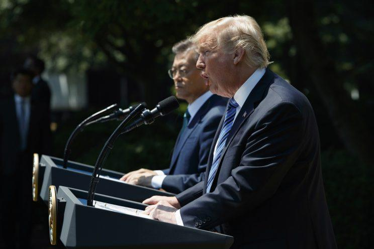 President Donald Trump, accompanied by South Korean President Moon Jae-in, speaks in the Rose Garden of the White House in Washington, Friday, June 30, 2017. (Photo: Evan Vucci/AP)