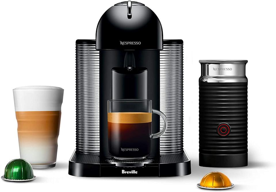 Nespresso Vertuo Machine by Breville with Aeroccino Milk Frother in black. Image via Amazon.