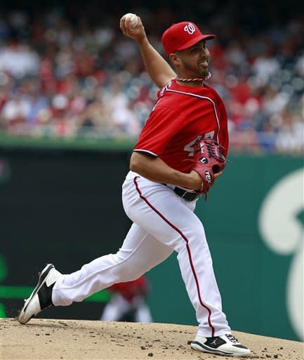 Washington Nationals starting pitcher Gio Gonzalez throws during the first inning of a baseball game with the Atlanta Braves, Sunday, June 3, 2012, in Washington. (AP Photo/Alex Brandon)