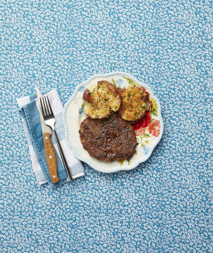 """<p>Easy, affordable, and <em>so</em> delicious, fried round steak is perfect for a quick, cowboy-inspired meal.</p><p><strong><a href=""""https://www.thepioneerwoman.com/food-cooking/recipes/a9901/fried-round-steak/"""" rel=""""nofollow noopener"""" target=""""_blank"""" data-ylk=""""slk:Get the recipe."""" class=""""link rapid-noclick-resp"""">Get the recipe.</a></strong> </p>"""