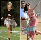 Same energy! Princess Diana racing in a skirt at Prince Harry's school in 1991; Kate Middleton wearing Anita Dongre while playing cricket with children in Mumbai