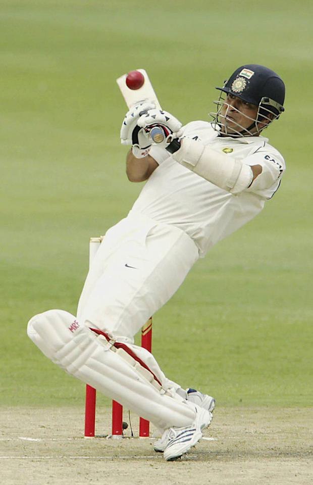JOHANNESBURG, SOUTH AFRICA - DECEMBER 15: Sachin Tendulkar of India hits out during Day One of the First test between South Africa and India at the Liberty Life Wanderers Stadium on December 15, 2006 in Johannesburg, South Africa.  (Photo by Duif du Toit/Gallo Images/Getty Images)
