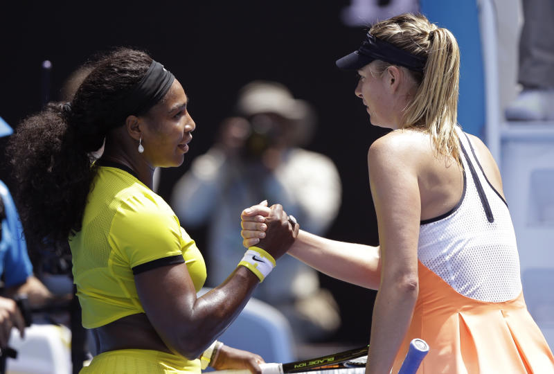 Serena Williams, left, of the United States is congratulated by Maria Sharapova.
