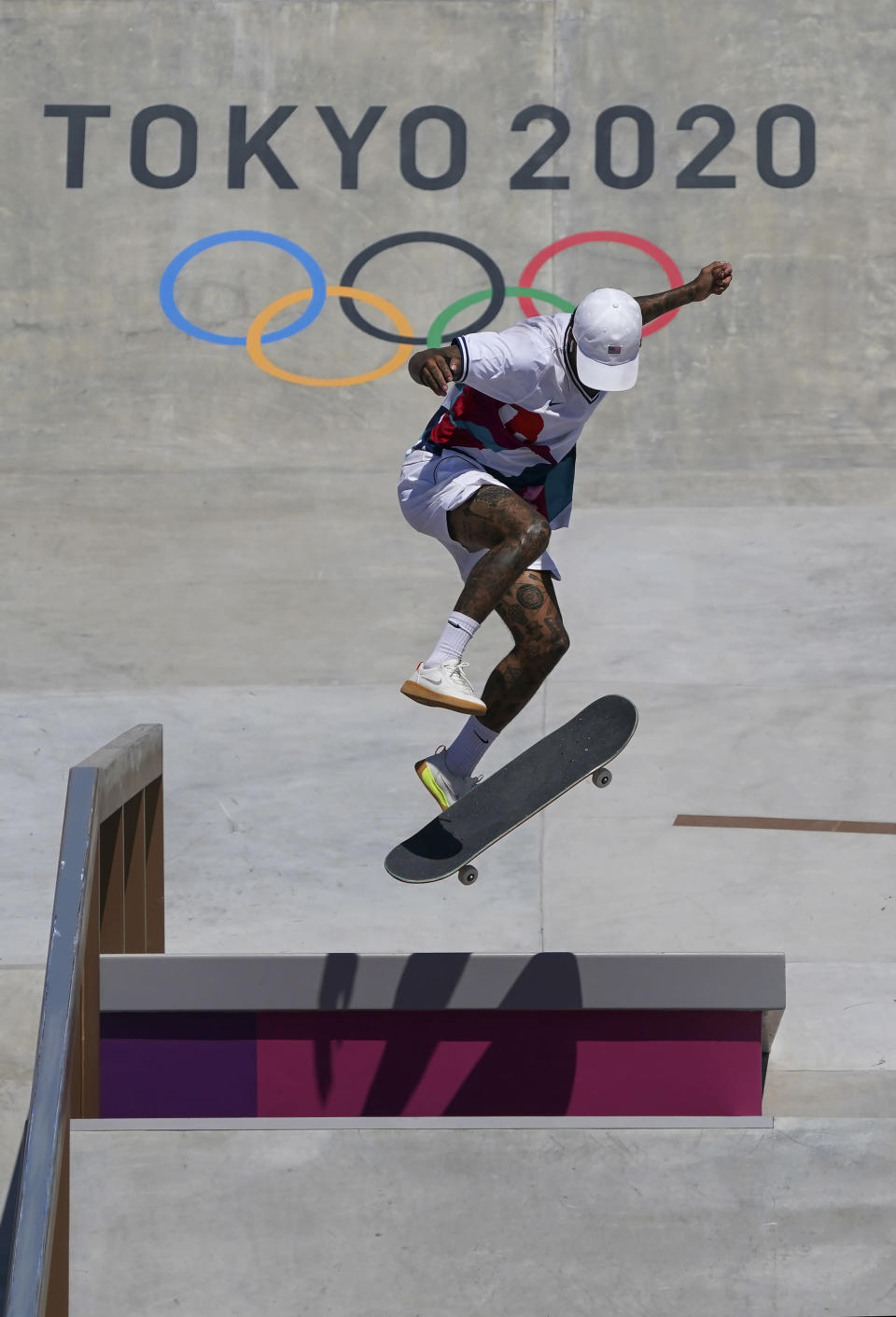 Nyjah Huston, of the United States, competes in men's street skateboarding during the Tokyo Olympics in Tokyo on Sunday, July 25, 2021. (Nathan Denette/The Canadian Press via AP)