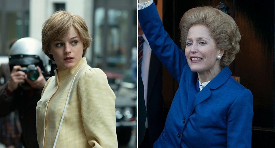 Composite image showing Emma Corrin (Diana Spencer) and Gillian Anderson (Margaret Thatcher) in the fourth series of The Crown. (Netflix)