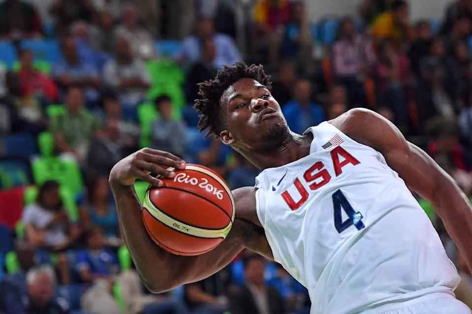USA's Jimmy Butler, seen in action during their Group A basketball match against Serbia, at the Rio 2016 Olympic Games, on August 12 (AFP Photo/Andrej Isakovic)