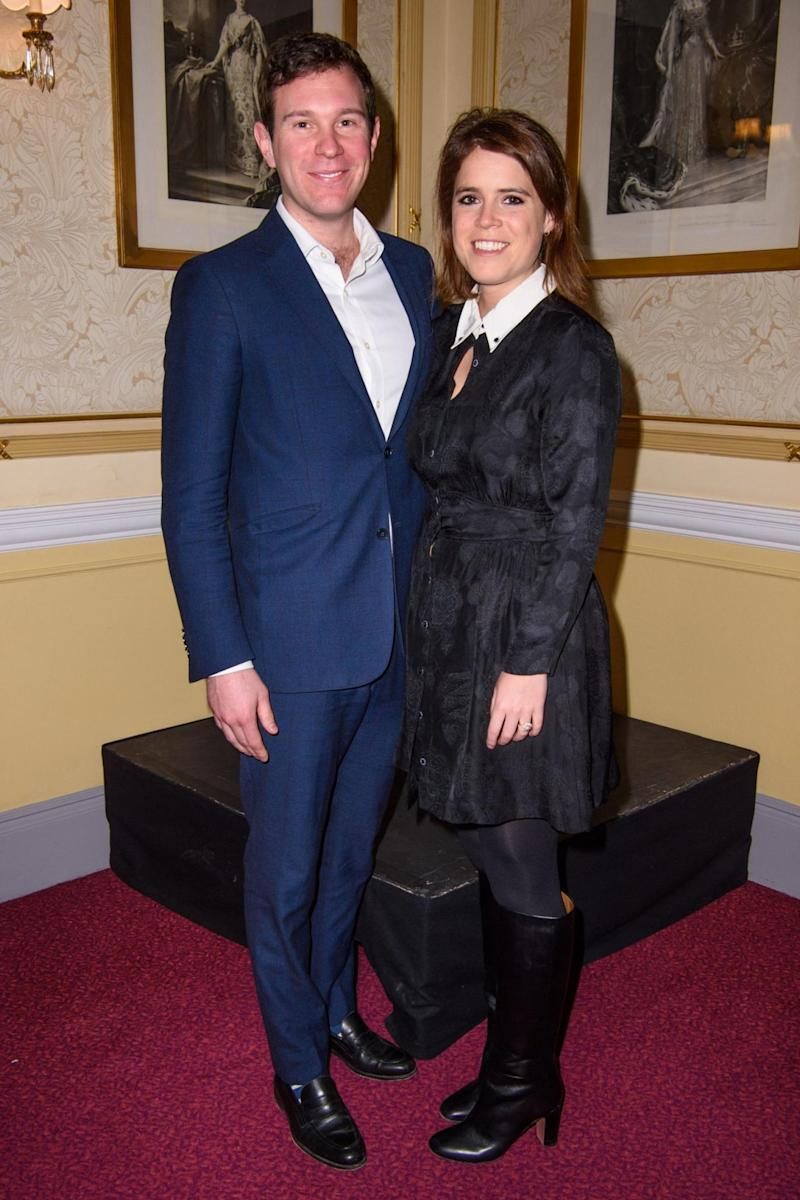 Walking tall: Princess Eugenie with fiancé Jack Brooksbank (PA)