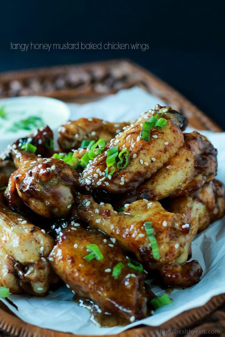 "<p>Skip the fryer but not the flavor with these baked wings, doused in a sweet-and-savory honey mustard sauce.</p><p><strong>Get the recipe at <a href=""http://www.joyfulhealthyeats.com/tangy-honey-mustard-baked-chicken-wings/"" rel=""nofollow noopener"" target=""_blank"" data-ylk=""slk:Joyful Healthy Eats"" class=""link rapid-noclick-resp"">Joyful Healthy Eats</a>.</strong> </p>"