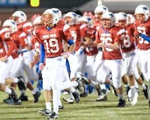 Caleb Gordy, running out with the Park View Patriots — Twitter