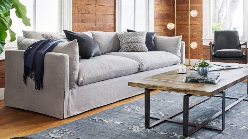 This sofa's cushions are overstuffed to resemble bed pillows, and we love it.