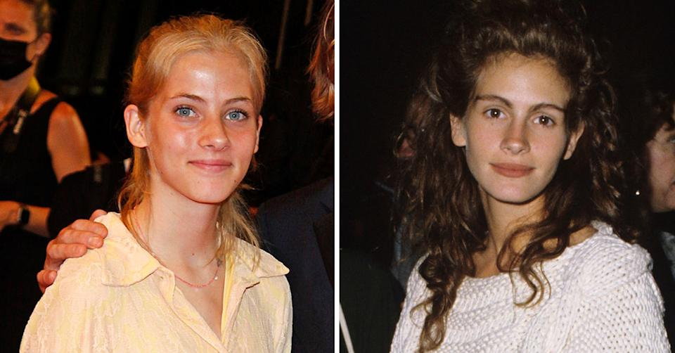 Side-by-side- images of Hazel Moder in 2021 and her mother, Julia Roberts in 1989. Photo: Getty Images.