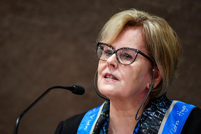 The president of the Brazilian High Electoral Court (TSE), Judge Rosa Weber, delivers a press conference in Brasilia, on October 21, 2018, to announce measures to combat the spread of fake news in social networks. - Brazil will hold runoff presidential elections on October 28. (Photo by EVARISTO SA / AFP) (Photo credit should read EVARISTO SA/AFP via Getty Images)