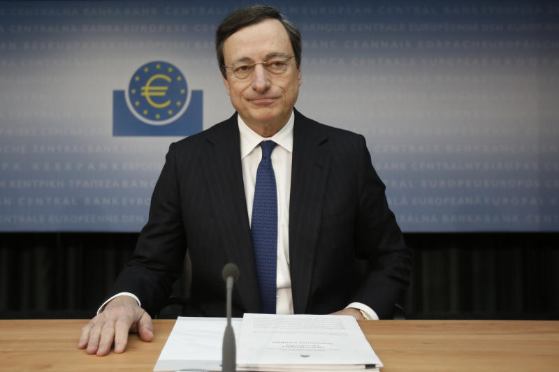 The President of the European Central Bank, ECB,  Mario Draghi, speaks during a press conference in Frankfurt, central Germany, Thursday Dec. 6, 2012. The European Central Bank announced that it  leaves main interest rate unchanged at 0.75 percent. (AP Photo/dapd/ Alex Domanski)