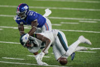 New York Giants strong safety Jabrill Peppers (21) breaks up a pass to Philadelphia Eagles' Travis Fulgham (13) during the second half of an NFL football game Sunday, Nov. 15, 2020, in East Rutherford, N.J. (AP Photo/Corey Sipkin)