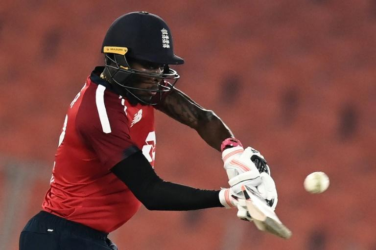 Jofra Archer hitting a six - but his flurry of runs was not enough to save England
