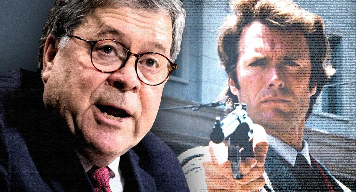 """Attorney General William Barr, left, and Clint Eastwood in """"Dirty Harry."""" (Photo illustration: Yahoo News; photos: AP, Warner Bros., Getty Images)"""