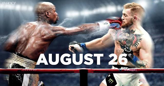 Floyd Mayweather Jr. and Conor McGregor will meet in the ring on August 26. (Yahoo Sports illustration)
