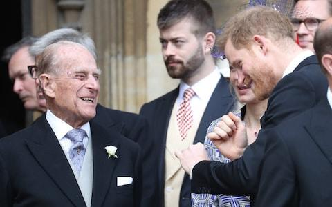 The Duke of Edinburgh laughs with the Duke of Sussex - Credit: Stephen Lock / i-Images