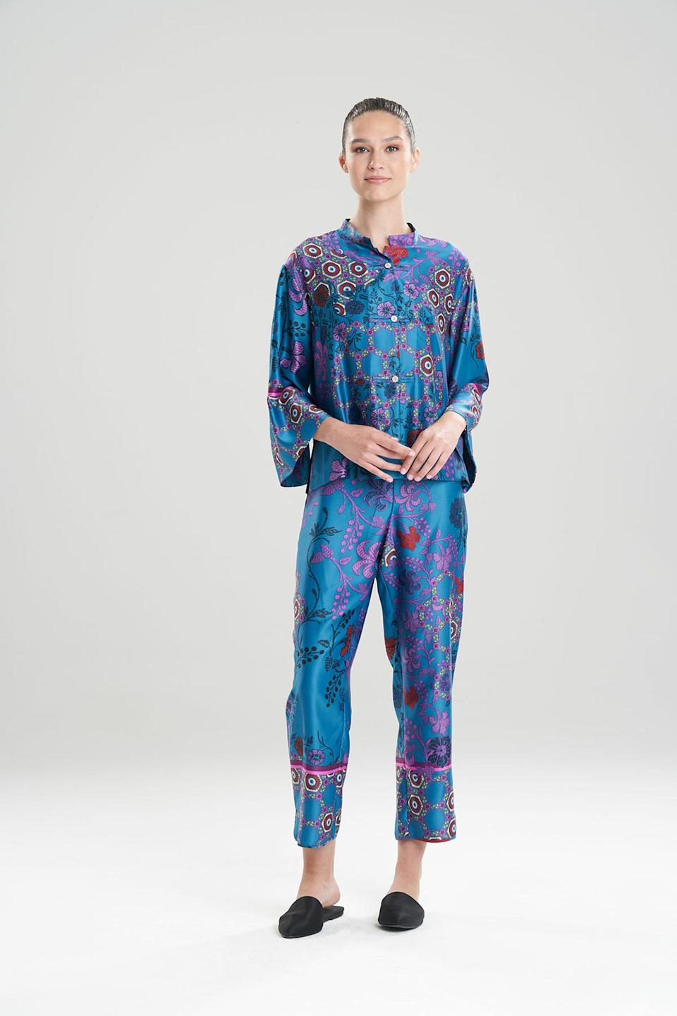 """<p><strong>natori</strong></p><p>natori.com</p><p><strong>$180.00</strong></p><p><a href=""""https://go.redirectingat.com?id=74968X1596630&url=https%3A%2F%2Fwww.natori.com%2Fnew%2Fsamarkand-mandarin-pj%2F&sref=https%3A%2F%2Fwww.womenshealthmag.com%2Flife%2Fg37581188%2Fpajamas-for-women%2F"""" rel=""""nofollow noopener"""" target=""""_blank"""" data-ylk=""""slk:Shop Now"""" class=""""link rapid-noclick-resp"""">Shop Now</a></p><p>Richly-printed pajamas like these made in the Philippines need a place in every fashionista's closet. They're begging for a spot on your Insta grid.<br></p>"""