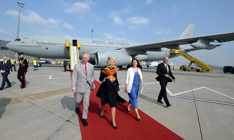 Prince Charles and the Duchess of Cornwall after landing in the Vienna aboard the RAF Voyager plane