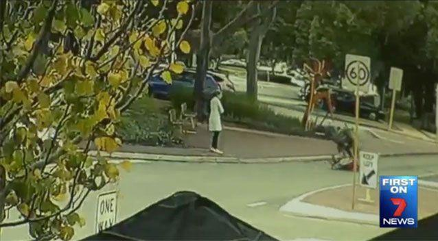 The moment a cyclist collided with a 92-year-old pedestrian. Source: 7News