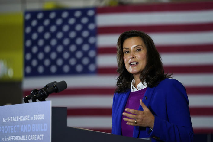 FILE - In this Friday, Oct. 16, 2020 file photo, Michigan Gov. Gretchen Whitmer speaks during an event with Democratic presidential candidate former Vice President Joe Biden at Beech Woods Recreation Center in Southfield, Michigan Gov. Gretchen Whitmer on Thursday, Nov. 19, 2020 repeated her plea to Michigan residents to limit gatherings at Thanksgiving and keep loved ones safe. Whitmer's appeal came as the state health department reported 7,592 new confirmed cases of the coronavirus and 134 deaths, including 61 that were added after a records review.. (AP Photo/Carolyn Kaster, File)