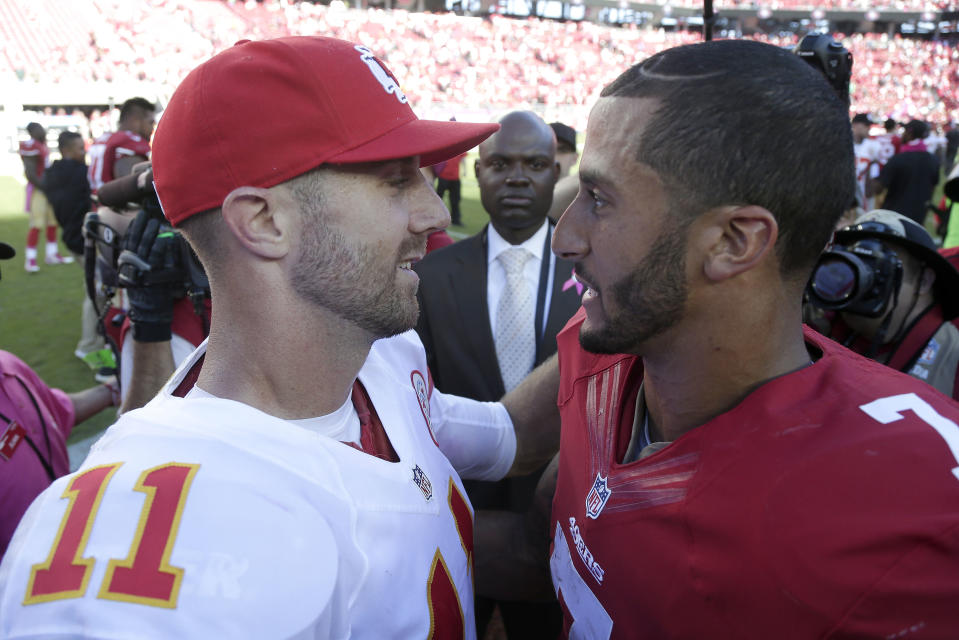 Alex Smith in Chiefs uniform and Kaepernick in 49ers uniform.