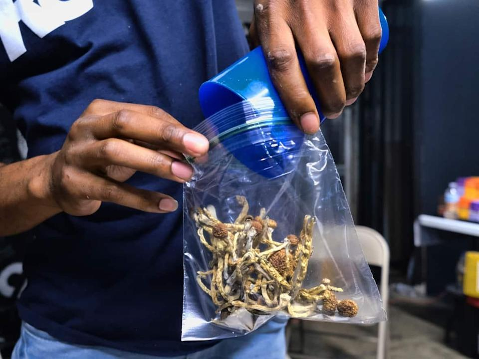 A vendor bags psilocybin mushrooms at a pop-up cannabis market in Los Angeles, Calif. Thomas Chan was under the influence of 'magic mushrooms' when he killed his father. (Richard Vogel/The Associated Press - image credit)