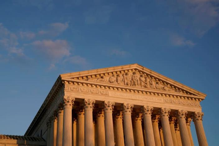 FILE PHOTO: A general view of the U.S. Supreme Court building at sunset in Washington