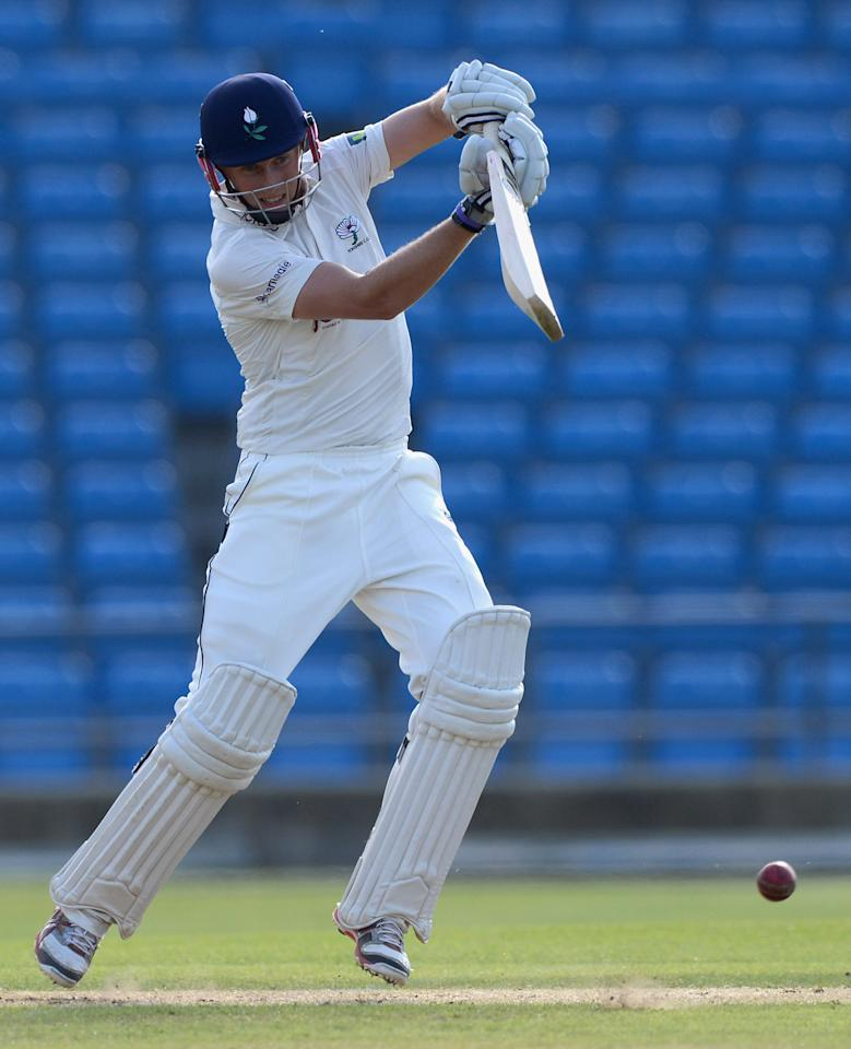 LEEDS, ENGLAND - MAY 31:  Joe Root of Yorkshire bats during day two of the LV County Championship division two match between Yorkshire and Northamptonshire at Headingley on May 31, 2012 in Leeds, England.  (Photo by Gareth Copley/Getty Images)