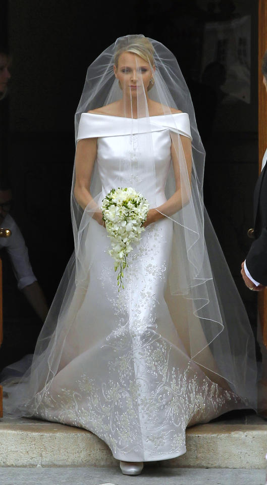 Princess Charlene of Monaco called on Italian designer Giorgio Armani to create the dress for her wedding to Prince Albert II of Monaco, on July 2, 2011. The dress combined an understated overall design with thousands of gems and crystals.