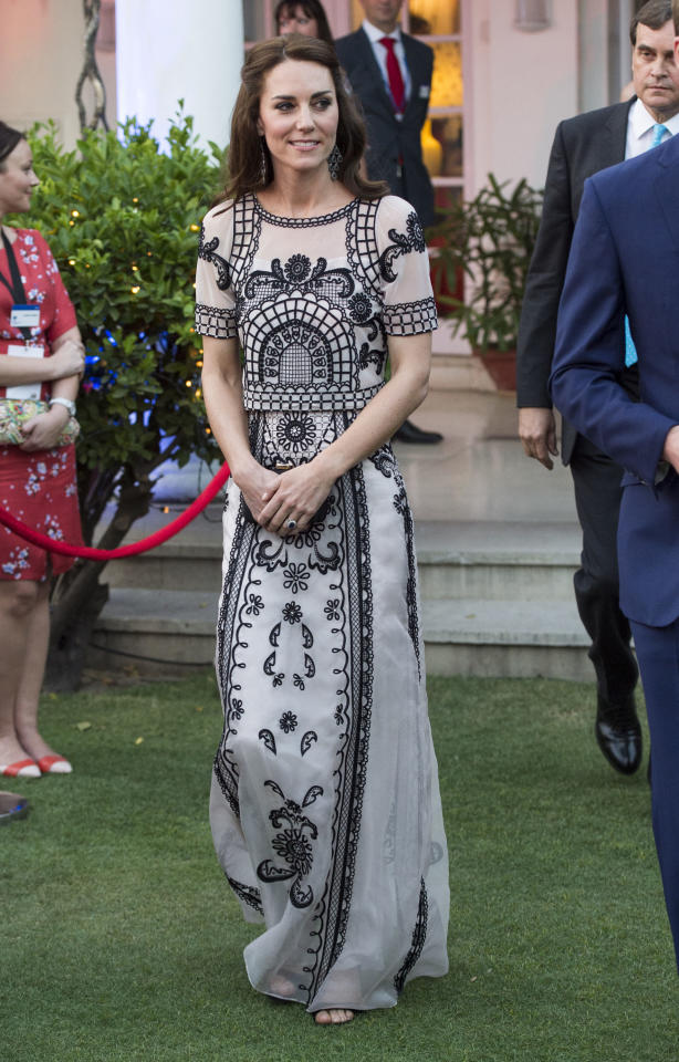 <p>The Duchess demonstrated her sartorial prowess during the royal couple's debut trip to India with a series of covetable ensembles. But her most impressive (and costly) outfit was a two-piece set by Temperley London which weighed in at £2,990. <em>[Photo: Getty]</em> </p>
