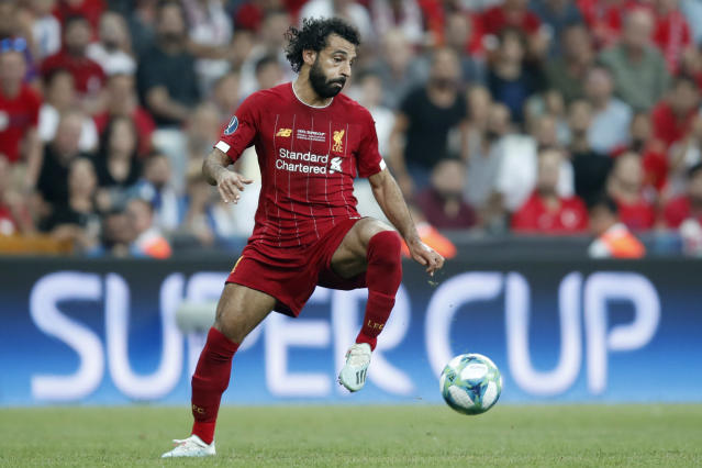 Liverpool's Mohamed Salah controls the ball during the UEFA Super Cup soccer match between Liverpool and Chelsea, in Besiktas Park, in Istanbul, Wednesday, Aug. 14, 2019. (AP Photo/Thanassis Stavrakis)