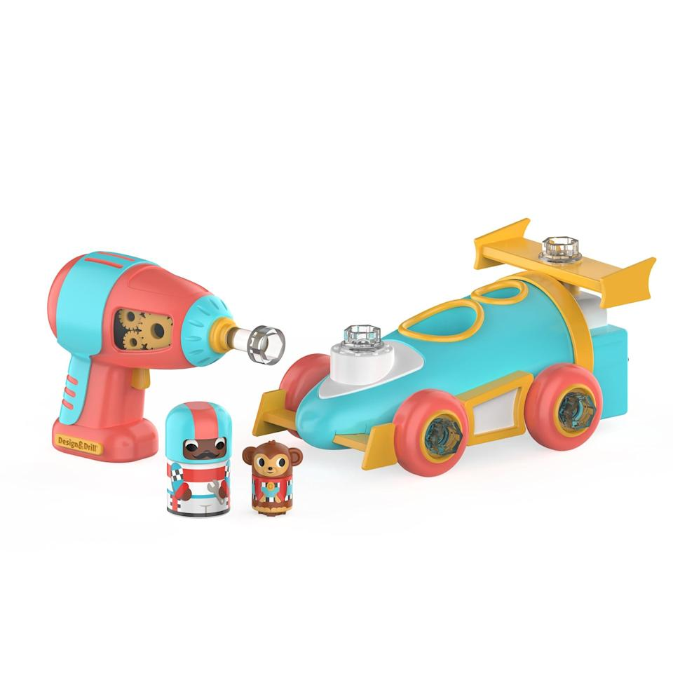 <p>The <span>Design and Drill Bolt Buddies Race Car</span> ($18) includes a kid-friendly power drill, bolts, snap-together race car parts, pit crew figures, and reusable packaging.</p>