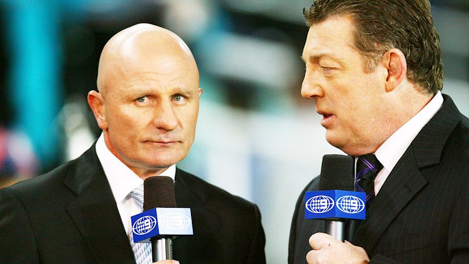 Peter Sterling and Phil Gould, pictured here before an NRL game in 2008.