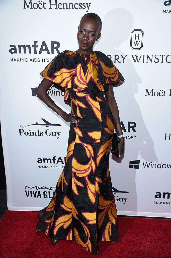 <p>The stunning model worked this boldly-patterned Christian Siriano dress at the amfAR Inspiration Gala.<i> (Photo by Dimitrios Kambouris/Getty Images)</i><br><br></p>