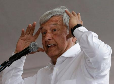 Leftist front-runner Andres Manuel Lopez Obrador of the National Regeneration Movement (MORENA) speaks during his campaign rally in Cuautitlan Izcalli, Mexico, April 13, 2018. REUTERS/Henry Romero