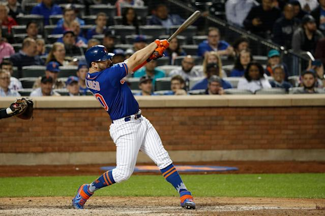 "<a class=""link rapid-noclick-resp"" href=""/mlb/players/10918/"" data-ylk=""slk:Pete Alonso"">Pete Alonso</a> leads all rookies with 17 homers this season. (Photo by Michael Owens/Getty Images)"