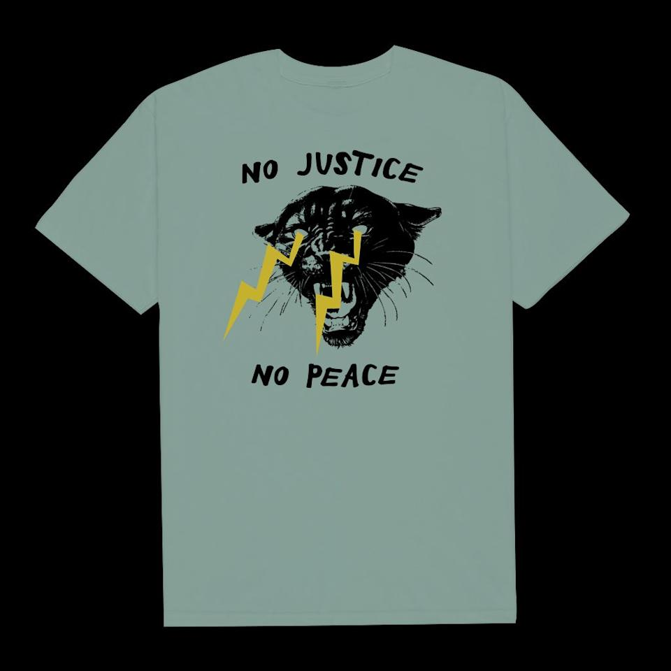 """Get the <a href=""""https://philadelphia-printworks.myshopify.com/collections/products/products/no-justice-no-peace-5"""" target=""""_blank"""" rel=""""noopener noreferrer"""">""""No Justice, No Peace"""" T-shirt from Philadelphia Printworks for $25</a>"""